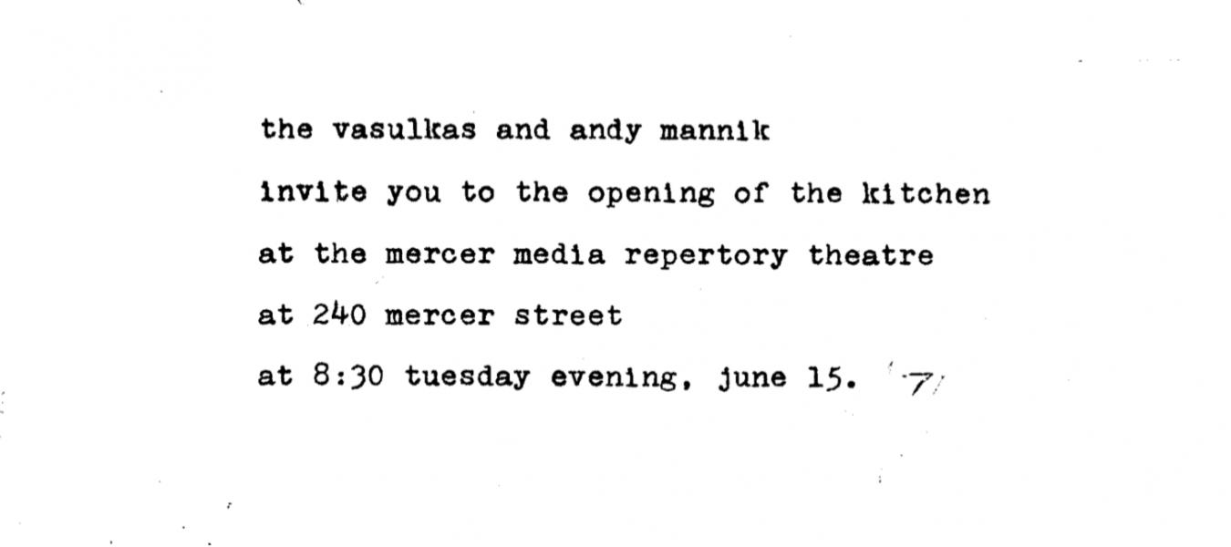 Pozvánka k otevření The Kitchen, zvou Woody a Steina Vasulka a Andy Mannik.